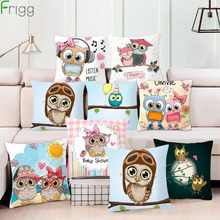 Frigg Cartoon Owl Cushion Cover Bed Sofa Decorative Cushion Home Decor Pillow Case Living Room Seat Chair Cushion Pillowcase цены