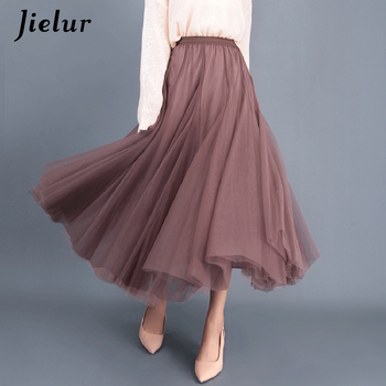 Jielur Skirt Autumn 3 Layers Princess Tulle Skirts Womens Mesh Pleated A-line Saia Female Jupe Tutu Skirts Faldas Mujer Moda 6