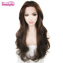 Imstyle Koyu Kahverengi Dantel Ön Peruk Sentetik Saç Peruk Uzun Dalgalı Peruk Kadınlar Için ısıya dayanıklı iplik Tutkalsız Saç 26 inç