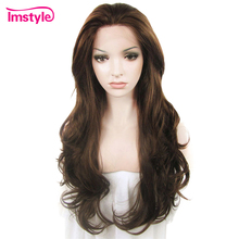 Imstyle כהה חום תחרה מול פאות סינטטי שיער פאה ארוך גלי פאות עבור נשים חום סיבים עמידים Glueless שיער 26 סנטימטרים
