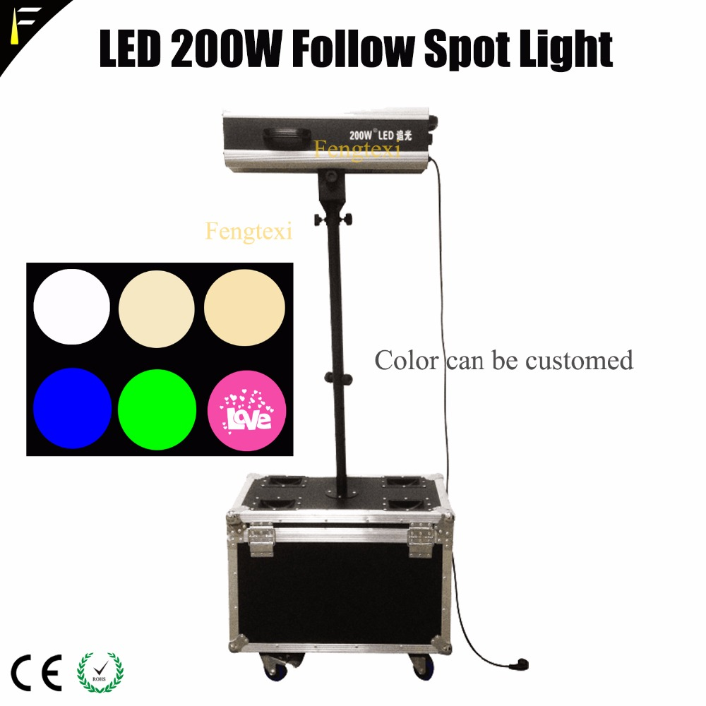 Mini LED 200W Follow Spot Light Spotlight Kit Gobo Effect with Flight Case Box Followspot For Wedding Show/Theater FTX-200wFL цена