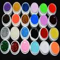 hot 24Pcs Mix Color Pure Glitter UV Builder Gel for Nail Art Tip Set tools