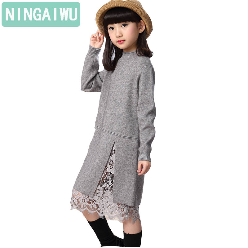 New girl children winter sweater dress lace stitching split long turtleneck knitted kids girls long sleeves dress party clothes light coffee knitted long sleeves off shoulder midi dress