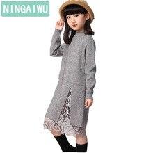 Nova menina crianças inverno camisola vestido de renda costura dividir longo gola alta de malha crianças meninas mangas compridas vestido de festa roupas