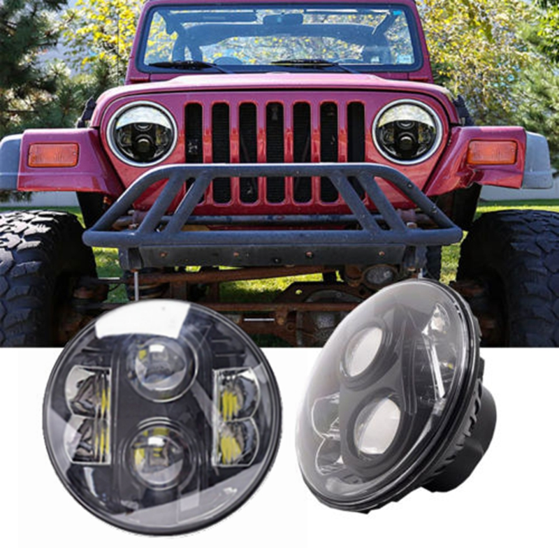 Pair For Jeeps Wrangler JK 7 Inch Round 80W H13 H4 LED Projector Headlights 7 inch 80w round led headlights high