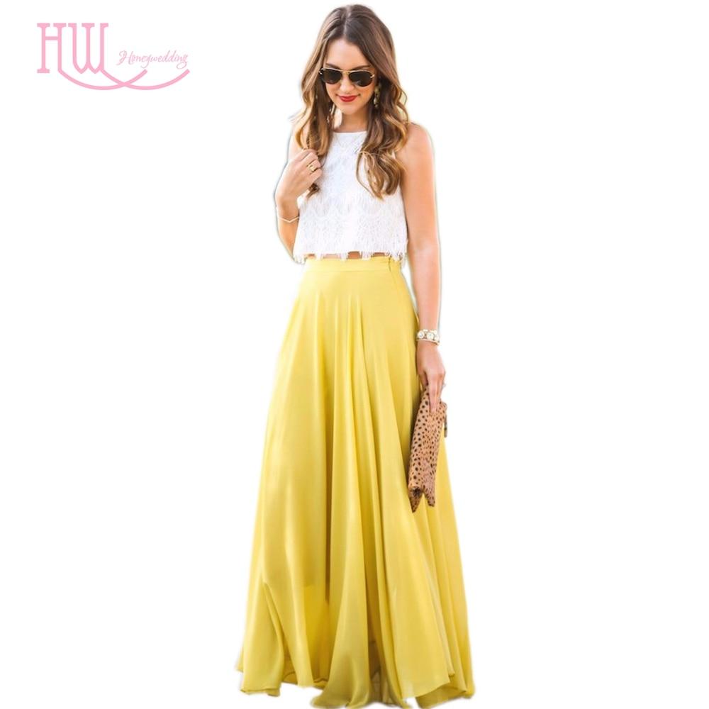 summer style chiffon skirt a line floor length maxi