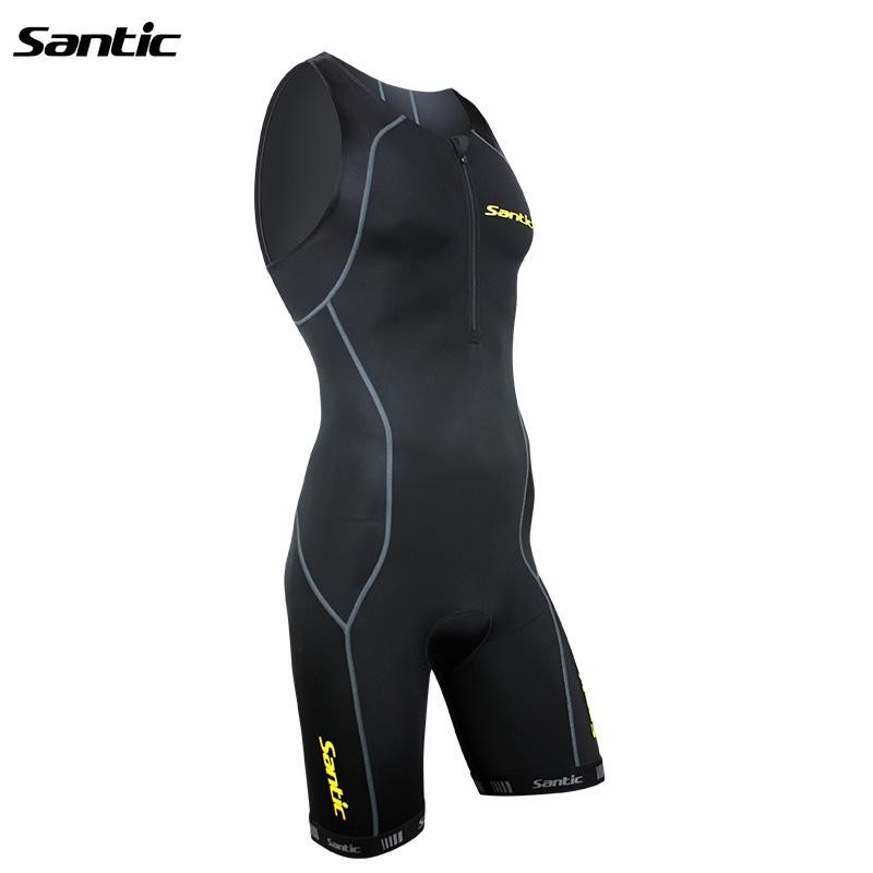 Santic Black Cycling Triathlon Clothing Men Women Skinsuit Sleeveless Triathlon Clothing for Swimming Running MC03004/LC03003