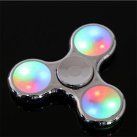 Plating metal Fidge Spinner LED Light Hand Spinner Colorful Light for Autism and ADHD Relief Focus Anxiety Stress Gift Toys UV