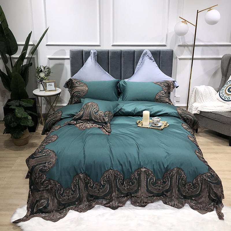 Egyptian Cotton Ultra Soft Silky Bed Sets Shabby Lace Bedding Set for Girls Bed sheet set