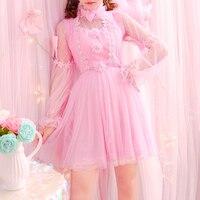 Lolita Pink Kawaii Dress Princess Pearl Bowknot Women Cute Lovely One piece dress Ladies Tulle Lace Sweet Full sleeve Dresses
