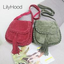 Natural Suede Leather Saddle Bag Women Genuine Leather Casual Messenger Bag Female Leisure Natural Leather Fringe Shoulder Bag