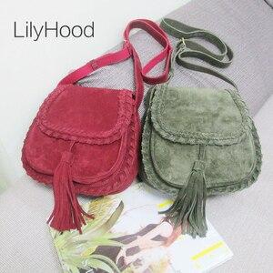 Image 1 - Natural Suede Leather Saddle Bag Women Genuine Leather Casual Messenger Bag Female Leisure Natural Leather Fringe Shoulder Bag