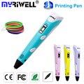 2016 Free shipping Myriwell 3D Pen/3D Printing Pen stereoscopic Pen 3d printer drawing pen 20colors 5m ABS with US/UK/AU/EU plug