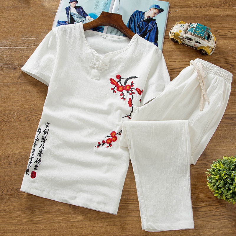 High Quality Thin Summer Linen Set Cotton Men T-shirt Slim Short-sleeved Solid Color Casual Large Size Cropped Pants Men's Print