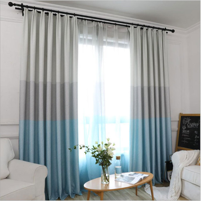US $13.0 |Nordic style curtain fabric shading bedroom ins tricolor mosaic  living room blackout curtains finished simple modern 0203-in Curtains from  ...