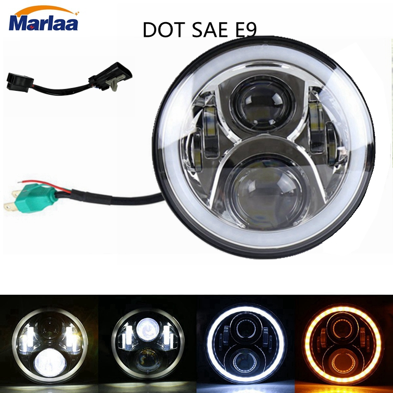 7 Round LED Headlight Projector Daymaker Headlamp with Angle Eye for Harley Jeep Wrangler Davidson Motorcycle H4 H13 Headlight