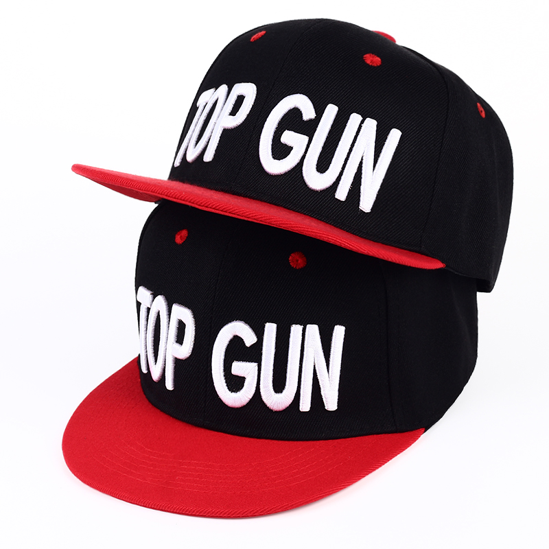 New TOP GUN Hat Classical Snapback Hat for Men Personality Fashion baseball Cap Black/Red Workaholics Casual gun hip hop caps image