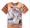 Бренд Нова футболка 2015 новый Тигр печати Pattern мальчики летняя одежда С Коротким рукавом характер мода Хлопок Мальчик Тройники детская одежда