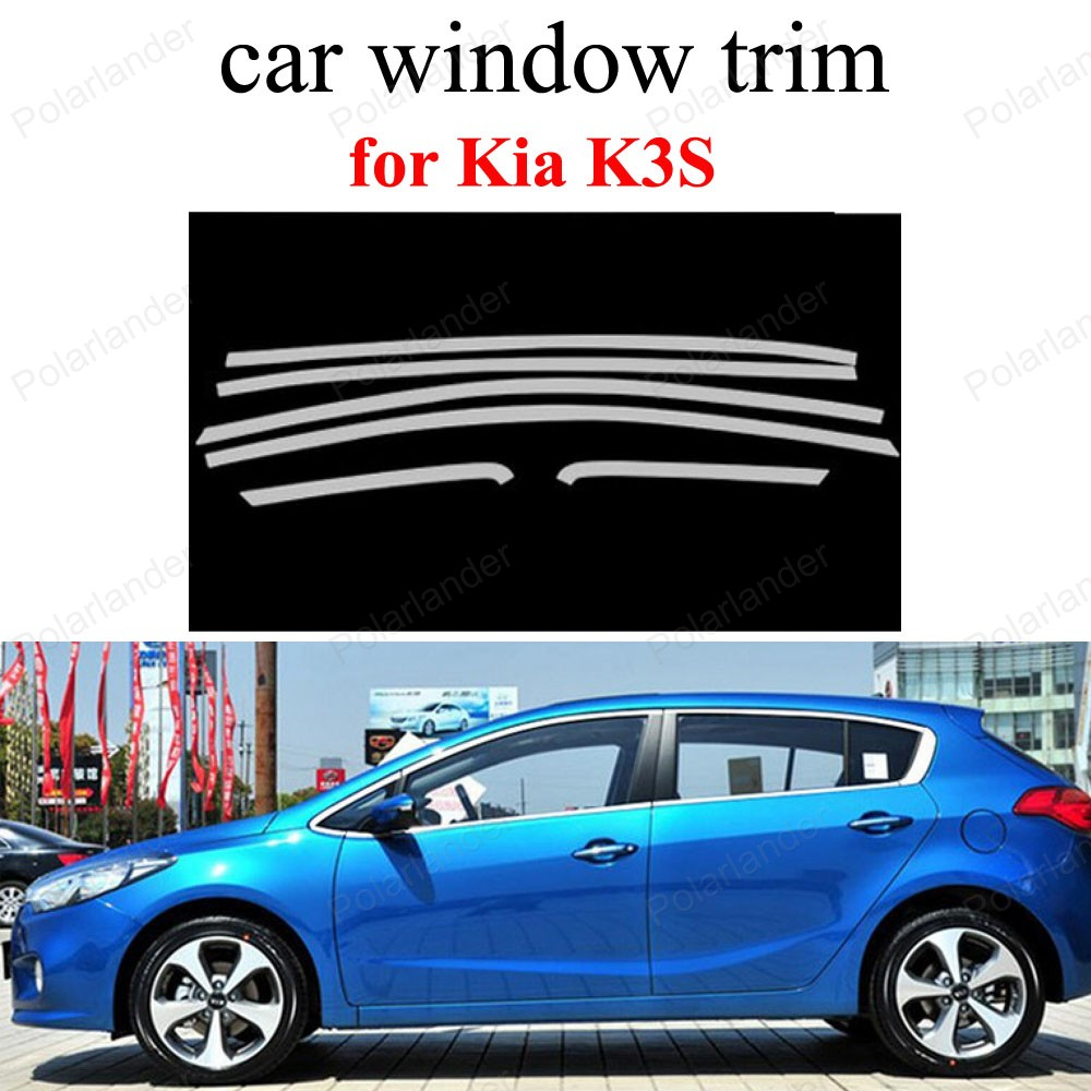 Window Trim For K-ia K3S Decoration Strips Stainless Steel Styling Car Accessories stainless steel full window with center pillar decoration trim car accessories for hyundai ix35 2013 2014 2015 24