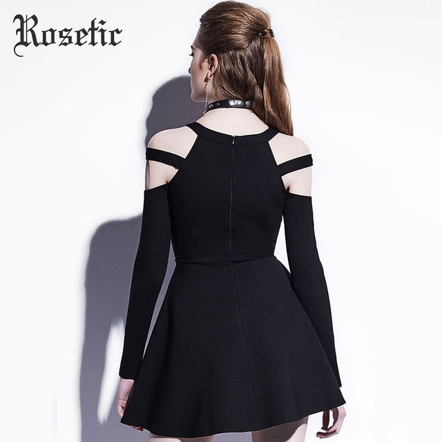 Rosetic Gothic Mini Dress Black Fashion Hollow Autumn Women Casual Dress Dark Street Wild Sexy Preppy A-Line Goth Mini Dresses 3