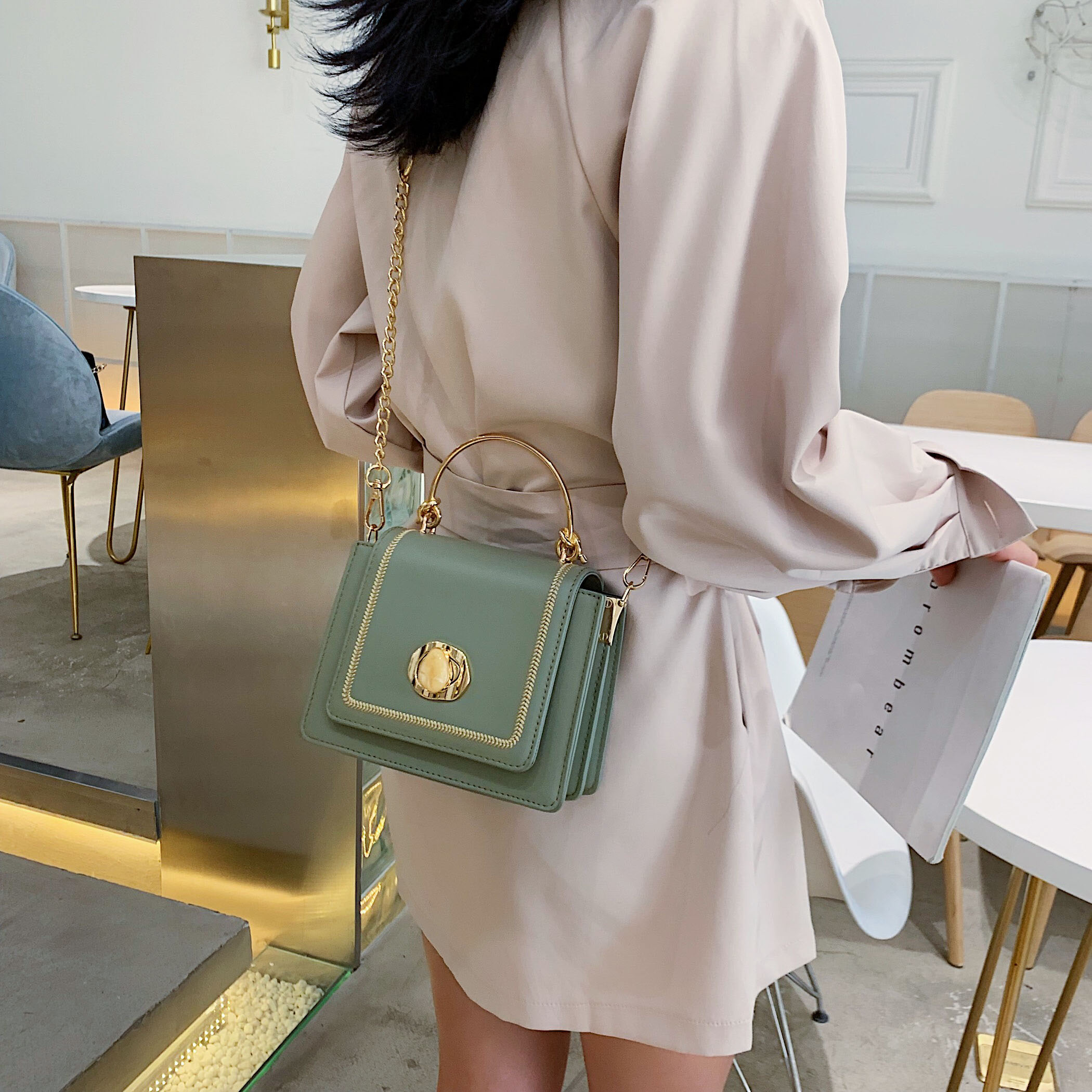 Image 3 - Solid color Leather Mini Crossbody Bags For Women 2019 Summer Messenger Shoulder Bag Female Travel Phone Purses and Handbags-in Shoulder Bags from Luggage & Bags