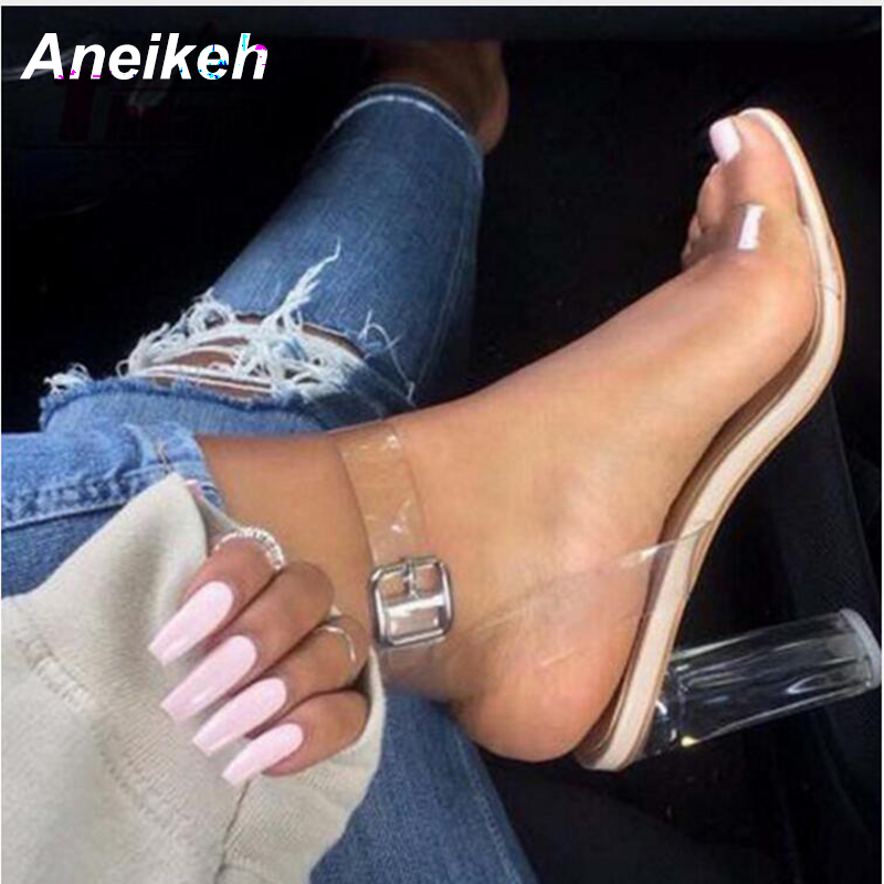 Aneikeh Women Sandals Plus Size 41 42 Transparent PVC High Heels Shoes Woman Star Style Ankle Strap Gladiator Sandals Women Shoe