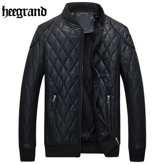 HEE GRAND 2017 New Fashion Plaid Men Leather Jackets Leisure European Style Male Business PU Coats  MWP337