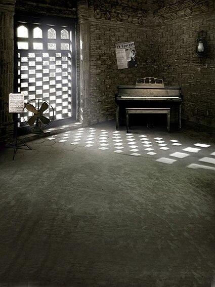 piano practice 5ft backdrops sunshine length retro dark mouse