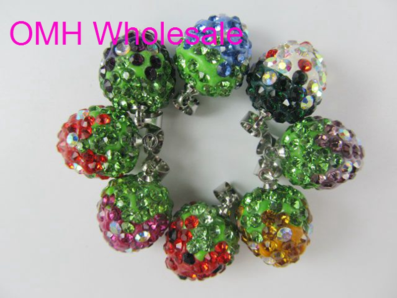 OMH wholesale 10pcs mixed Jewelry accessories rhinestones inlay Crystal strawberry charm pendants for necklace earrings PJ311