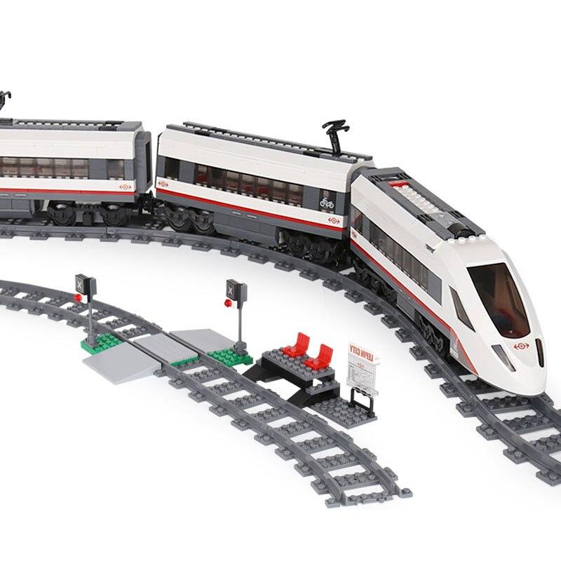 W magazynie pasażerski kompatybilny z 60051 02010 miasto pociąg klocki klocki zabawki dla dzieci prezenty w Klocki od Zabawki i hobby na  Grupa 1