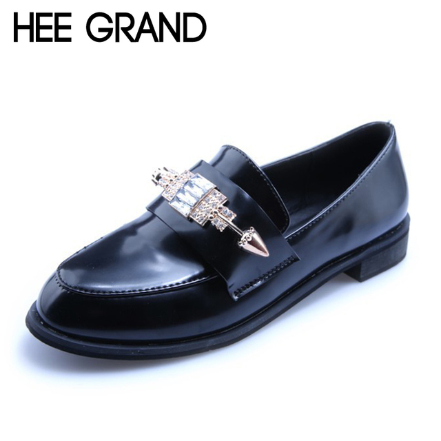 HEE GRAND Spring Crystal Oxfords 2017 Slip On Flats Casual Platform Shoes Woman Bling Creepers Fashion Brogue Shoes XWX5780