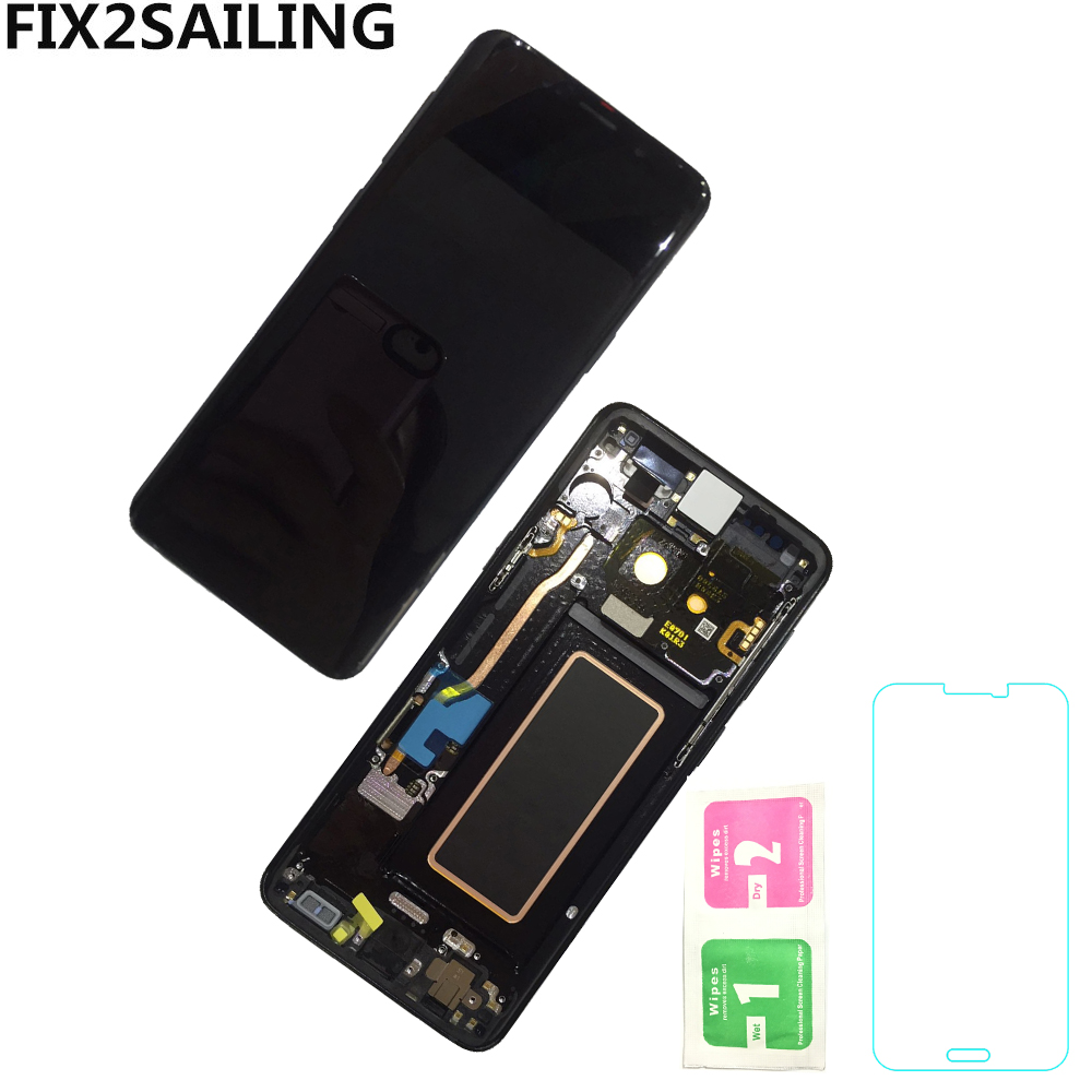 Per Samsung Galaxy S9 G960 G9600 G960f LCD Display Super AMOLED Touch Screen Assembly Cornice di Ricambio Parti di Riparazione
