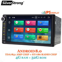 SilverStrong IPS Android 8.0 4GB 32GB Car DVD 2din Universal Car GPS Radio Navigation double din Stereo option DSP 7.1 2+16G 707