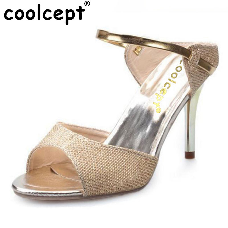 Coolcept Women'S High Heel Sandal Peep Toe Slipper Women Platform Open Toe Thin Heel Shoes Sexy Summer Beach Footwear Size 35-39 2015 fashion women sandal thin high heel open heel glitter thick platform sandalias plataforma high heel sandal made to order