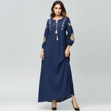 Embroidery Middle East Women Abaya Muslim dress Long Sleeve Kaftan Islamic arabic Turkish Maxi dresses loose maternity Dress