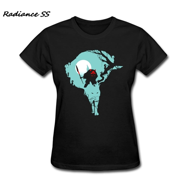 1e7e00538c5 Confortable Femmes de Rétro t chemises Forêt Princesse De Luxe T-shirt  Mononoke Noir À
