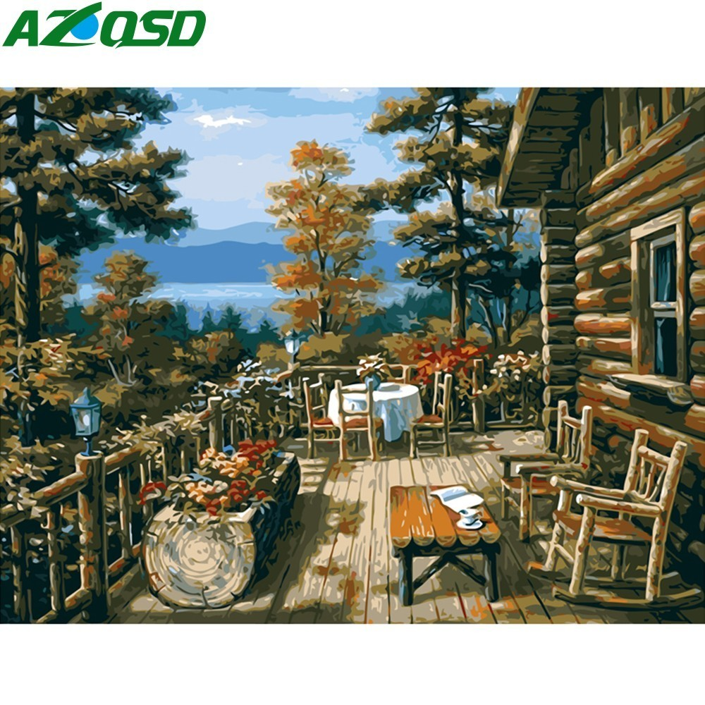 AZQSD On Canvas Paint Landscape Wall No-Frame Living-Room Home-Decor With Wooden