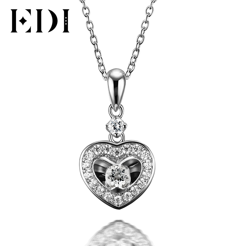 EDI 18K Solid White Gold Diamond Wedding Pendant Real Natural Diamond Heart Pendants For Women 16' Necklace Chain Fine Jewelry fine jewelry collection real 18k white gold natural green jade gemstone animal shape pendant necklace fine pendants