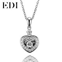 EDI 18K Solid White Gold Diamond Wedding Pendant Real Natural Diamond Heart Pendants For Women 16' Necklace Chain Fine Jewelry