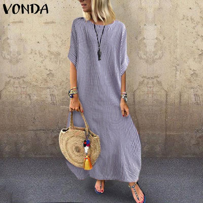 Summer Dress 2019 VONDA Woman's <font><b>1</b></font>/<font><b>2</b></font> Sleeve Vestidos Maxi Long Dresses Party Robe Vintage Casual Beach <font><b>Sexy</b></font> <font><b>Shirt</b></font> Sundress Plus image