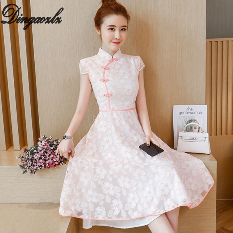 Dingaozlz short sleeve lace dress 2018 new fashion women dress Vestidos Improved Cheongsam pink casual dress