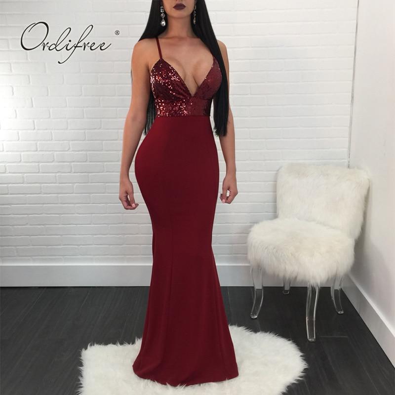 Ordifree 2018 Summer Elegant Women Sexy Party Dress Spaghetti Strap Long Sequin Bodycon Dress