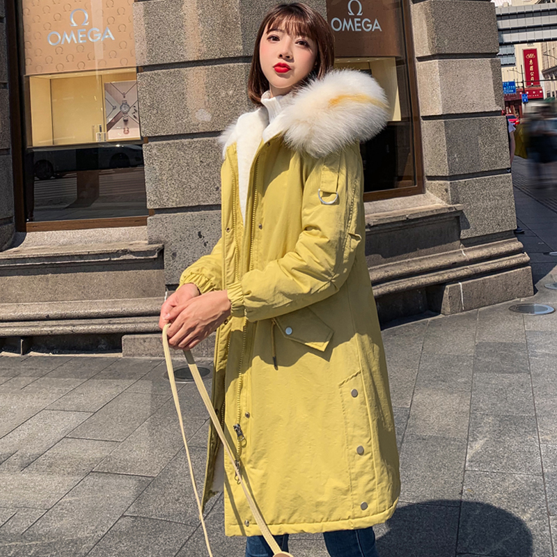 New Arrival 2019 Women Winter Jacket Hooded With Fur Collar Female Long   Parka   Padded 5 Colors Jacket Women Coat