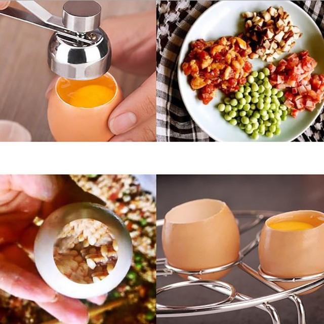 Stainless Steel Boiled Egg Topper Shell Cutter Knocker Raw Egg Cracker Separator Egg Opener Kitchen Gadgets 1