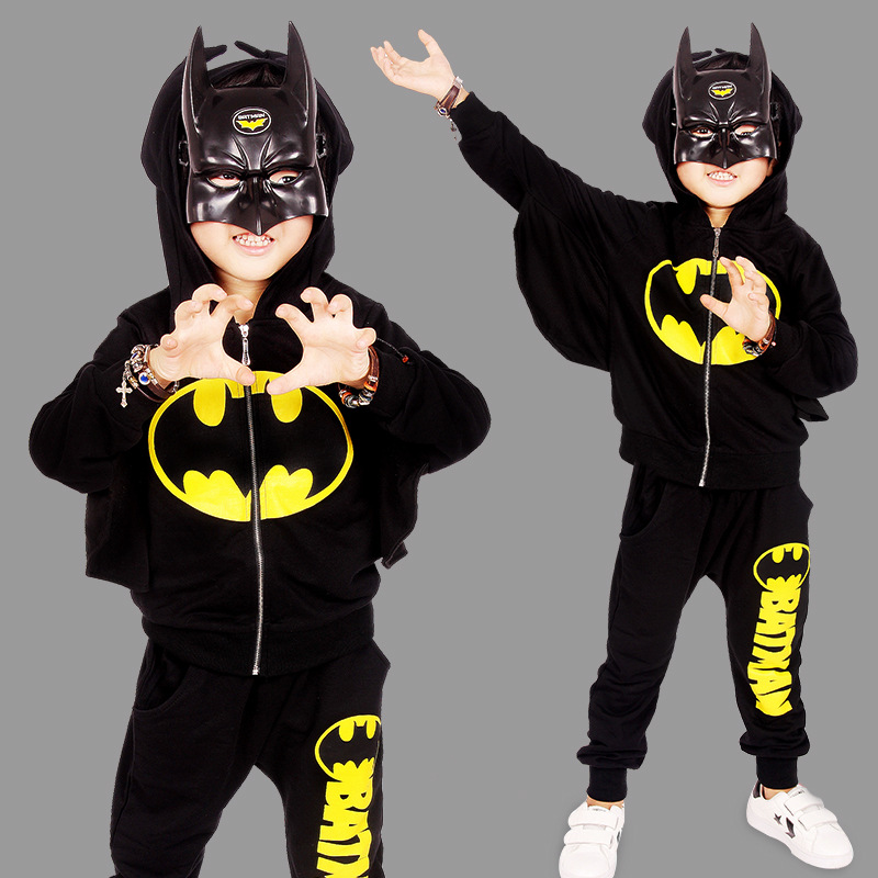 Boys Clothes Sets 2017 New Autumn Kids Two-Piece Sets Batman Boy Clothing Sets 3-7 Years Black Color Fashion Casual Clothes