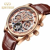 KINYUED Tourbillon 자동 시계 남자 로즈 골드 년 날짜 데이 해골 시계 기계식 남성 herenhorloges mechanische horloges
