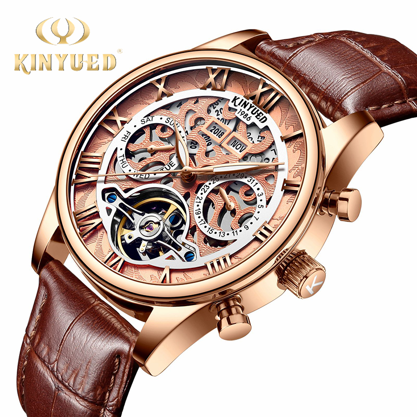 KINYUED Tourbillon Automatic Watch Men Rose Gold Year Date Day Skeleton Watch Mechanical Mens herenhorloges mechanische horlogesKINYUED Tourbillon Automatic Watch Men Rose Gold Year Date Day Skeleton Watch Mechanical Mens herenhorloges mechanische horloges