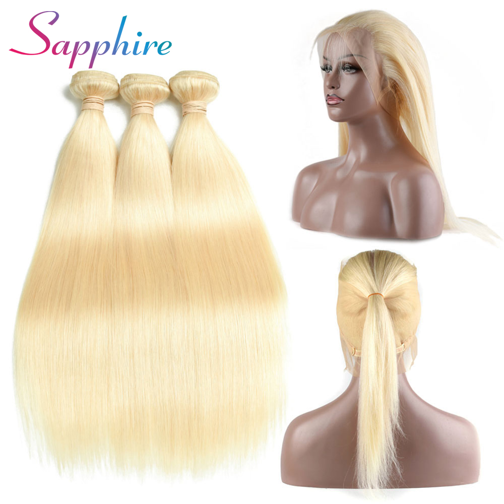 Sapphire Brazilian Remy-Hair Human Hair 3 Bundles With 360 Lace Frontal Straight 100% Human Hair Weave Bundles With Closure