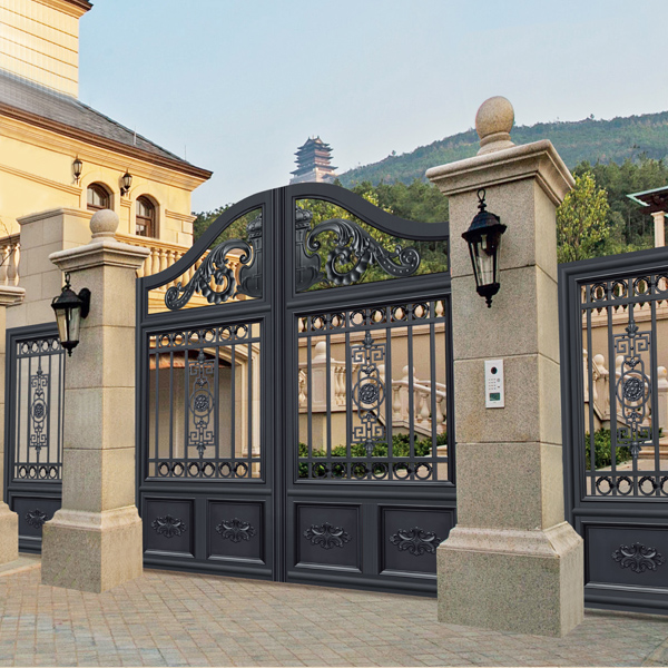 Splendid design black villa outside gate flowers carving - Sliding main gate design for home ...