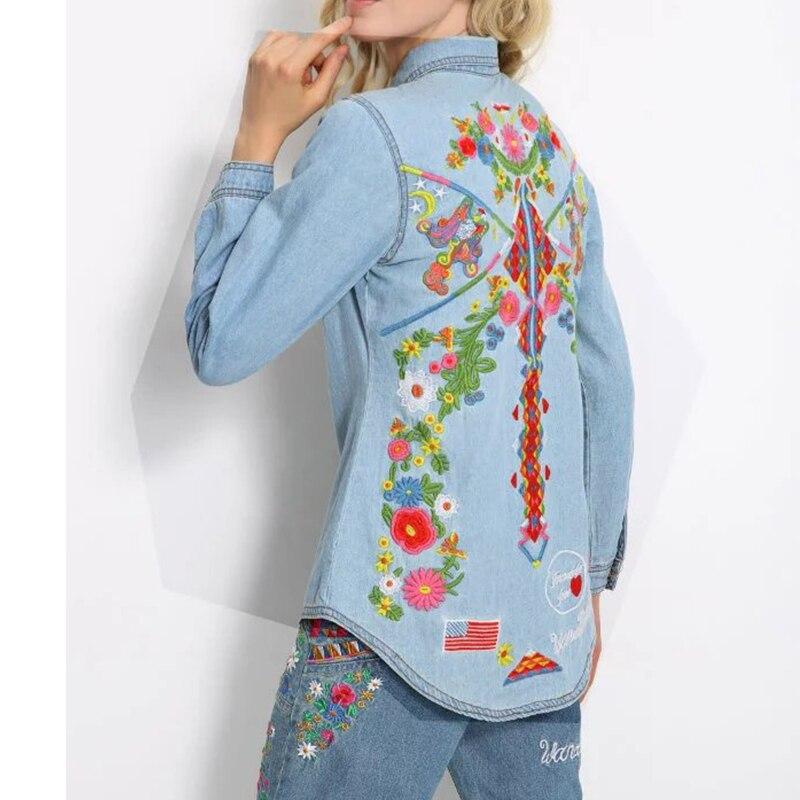 Vintage autumn women embroidery denim blouse shirts lapel